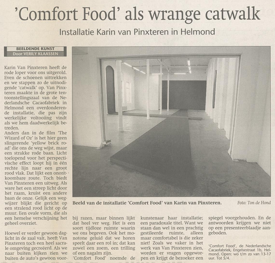 Karin van Pinxteren | recensie Comfort Food | 24042004 | door Verily Klaassen