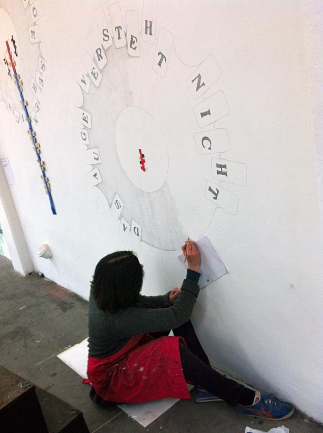 constructing the wall drawing   Karin van Pinxteren   De Fabriek Eindhoven